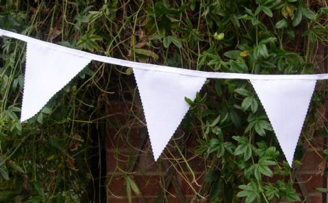 BUNTING Wedding - Plain White with Cotton Tape - 3m, 5m or 10m